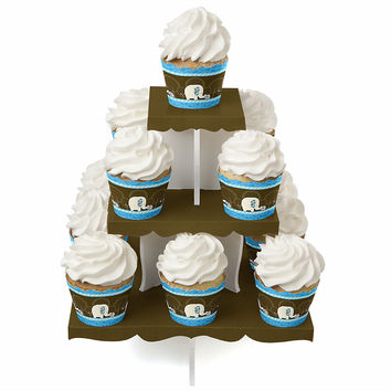 Blue Baby Elephant - Baby Shower Cupcake Stand and 13 Cupcake Wrappers