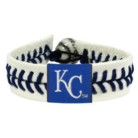 MLB Kansas City Royals Classic White Leather Baseball Bracelet with BLUE Seams
