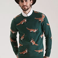 Fox-Patterned Crew Neck Sweater