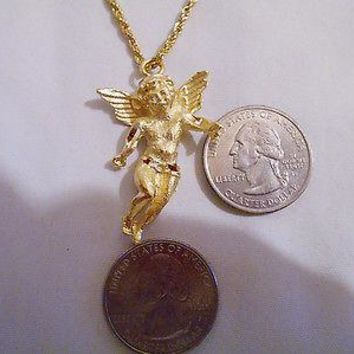 bling 14kt yellow gold plated god`s angel mystical good luck pendant charm 24inch chain hip hop christian necklace jewelry