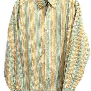 Ermenegildo Zegna Italy Striped Colors Blue Pink Green Tan Button Shirt Mens S - Preowned