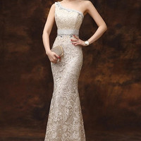 Gorgeous One-Shoulder Evening Bridesmaids Lace Overlay Gown