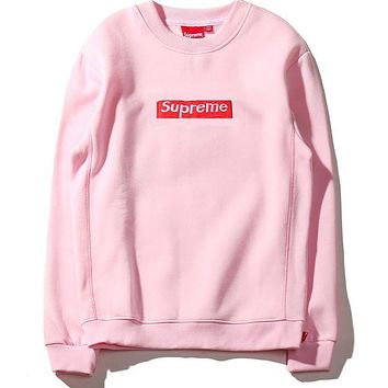 "Pink ""Supreme"" Couple Casual Letter Print Velvet Long Sleeve Pullover Sweatshirt Top Sweater"