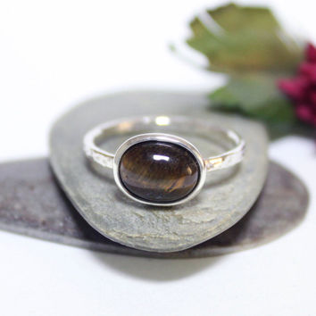 Tiger's Eye Rustic Silver Ring/ Simple Ring/Gemstone Ring/ Stacking Ring/ Hammered Ring