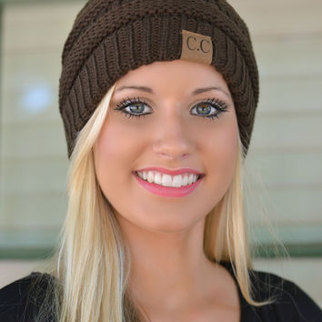 Chocolate Brown Slouchy Knit Beanie