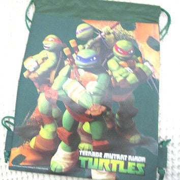 TEENAGE MUTANT NINJA TURTLES DARK GREEN DRAWSTRING BAG BACKPACK TRAVEL-NEW