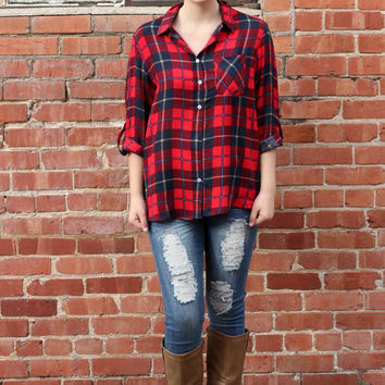 Winter Wishes Plaid Button Down