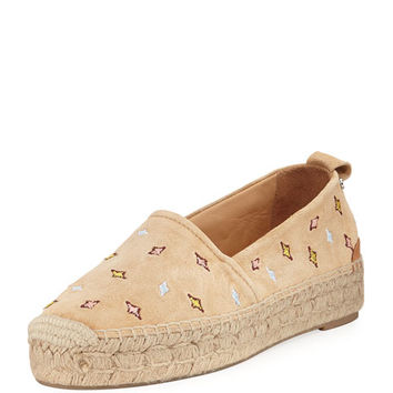 Rag & Bone Adria Embroidered Slip-On Espadrille Flat, Camel