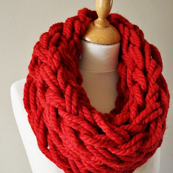 Arm Knitted Cowl, Chunky Arm Knit Cowl, Red Chunky Cowl, Super Chunky Cowl