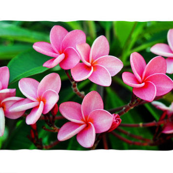 Rose Pink Plumerias - Fleece Blanket, Beach Tropical Throw Cover, Surf Botanical Style Coral Fleece Accent. In 30x40, 50x60 & 60x80 Inches