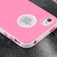Pandamimi Dexule Pink White Fashion Sweety Girls TPU , PC 2-Piece Hard Case Cover for iPhone 4 4S with Screen Protector:Amazon:Cell Phones & Accessories