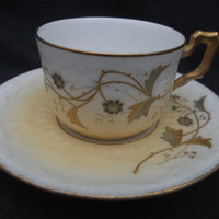 REDUCED Pretty antique Limoges late 19th century cup & saucer with gilt decoration