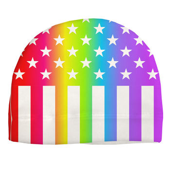 American Pride - Rainbow Stars and Stripes Adult Fleece Beanie Cap Hat All Over Print