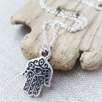 Hamsa Hand Sterling Silver Necklace, Protection Necklace, Evil Eye Protector Charm Necklace, Layering Necklace, Good Luck Charm, Prosperity