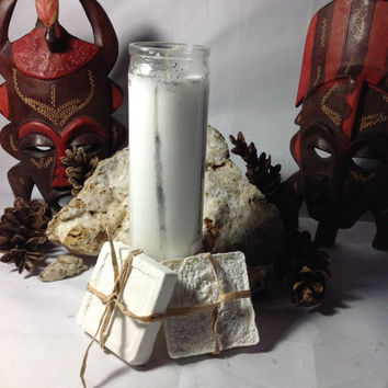 Spiritual Cleansing Cascarilla Spell Kit 1 five days Loaded White Spiritual Candle and 2 Handmade Cascarilla Spiritual Soap