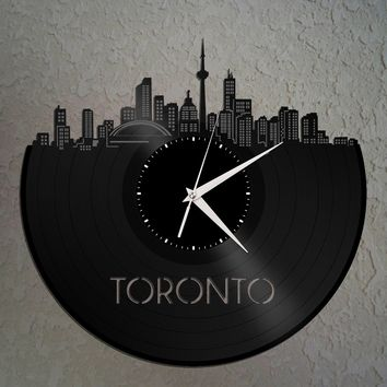 Toronto Skyline, Canada Cityscape Clock, Canadian Gift For Him, For Her, Home Decor, Wall Art, Unique City Print, Vinyl Record Custom Clock