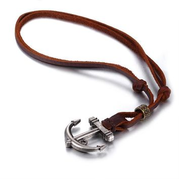 BodyJ4You Pendant Leather Anchor Cord Necklace Chain Mens Womens Adjustable