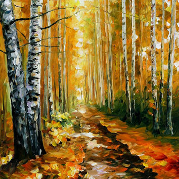 "Autumn Birches — PALETTE KNIFE Oil Painting On Canvas By Leonid Afremov - Size: 30"" x 36"""