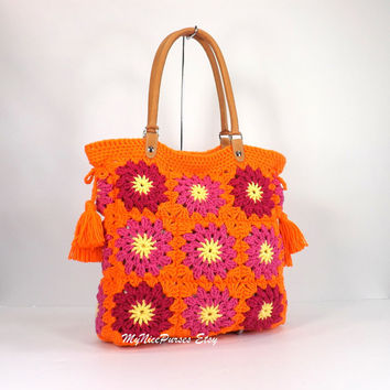 SALE Crochet granny squares handbag with tassels and genuine leather handles /HOT ORANGE/,  Crochet Bag, Tote Bag, Gift Idea