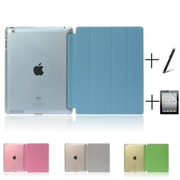 Ultra Slim Four Fold PU Leather with Crystal Hard Back Smart Stand Case Cover for iPad 2 iPad 3 iPad 4 Mini 1 2 3