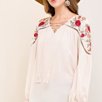 Taupe Floral Embroidered Peasant Top
