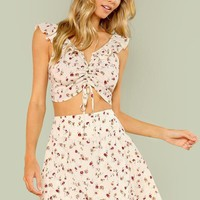 Two Piece Drawstring Front Ruffle Trim Top And Skirt