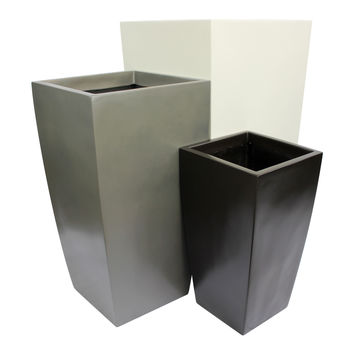 Orinda Tall Square Curved Planter - Black