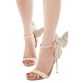 ACHICGIRL Women Butterfly Deco Ankle Strap Buckled Summer High Heel Stilettos