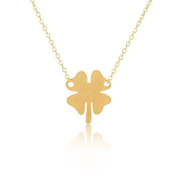 Lucky Four Leaf Clover Charm Necklace [Silver or Gold]