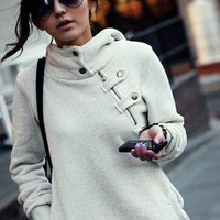 Sidelong Zipper With Hat Blouse Grey&White Q10082004