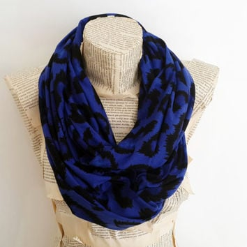 Cobalt Leopard infinity Scarf, Cotton Jersey Knit Fabric, Soft Circle Scarf, Women Accessories