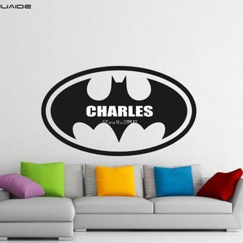 Personlized Name New Design Batman Logo Wall Stickers For Kids Room Vinyl Baby Boy Name Nursery Wall Decal Waterproof Mural A478