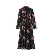 Black Flower Print Long Chiffon Dress