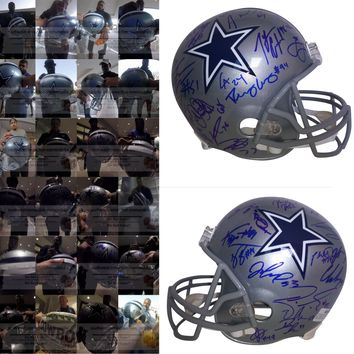 2018 Dallas Cowboys Team Autographed Riddell Full Size Football Helmet, Proof Photos