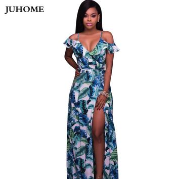 2017 Brand New Summer sundress Floor Length printed beach boho Sexy tunic Dress Side Slit V Neck Spaghetti Strap Female Vestidos