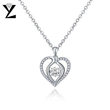 YL Heart 925 Sterling Silver Necklaces Pendants for Women Pendants with Topaz Natural Dancing Stone Wedding Jewelry