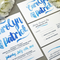 Watercolor Wedding Invitations Blue and Gray Wedding Pocket Invite Calligraphy Wedding Invitation Suite Beach Wedding Invites Summer Wedding