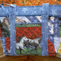 Quilted Horse Fabric Bag Purse Tote Patriotic 7 by craftcrazy4u