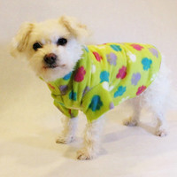 RockinDogs Lime Green Paw Print Fleece Dog Shirt
