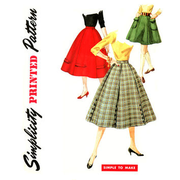 1950s Skirt Pattern Waist 25 Simplicity 1691 Gored and Flared Rockabilly Skirt Tab & Button Trim Easy to Sew Womens Vintage Sewing Patterns