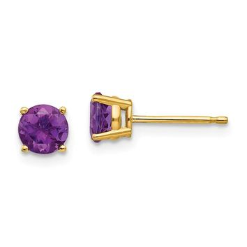 14k Gold 5 mm Amethyst Post Earrings