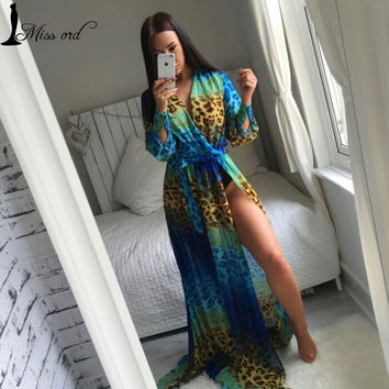 Free Shipping 2016 Sexy Leopard Print Perspective Gauze Maxi floor length Dress FT2858-1