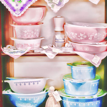 Yesterday's Dishes photo art print antique store kitchen art home decor pastel pyrexware pink and blue vintage bowls