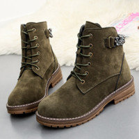 Boots wipe color retro Martin boots women with sandals with coarse boots Army green