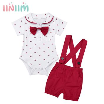 Infantil Baby Boys First Birthday Outfit Clothing Set Lapel Bowtie Romper Jumpsuit with Suspender Shorts Set for Weeding Party