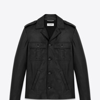 Saint Laurent Cargo Pocket Jacket In Black Washed Leather | ysl.com