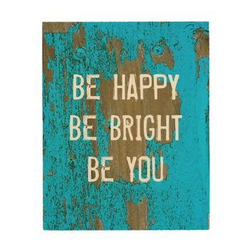 be happy quote wall art in teal blue wood wall art