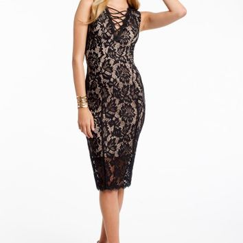 Two Tone Lace T-length Dress