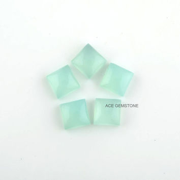 Aqua Chalcedony Cabochon-Smooth Square Calibrated Cabochon for Making Jewelry, 10×10mm -5Pec