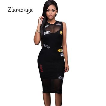 Ziamonga Letter Patch Embroidery Black Dress Sleeveless Tank Mesh Club Party Bodycon Midi Dress Summer Women Sexy Bandage Dress